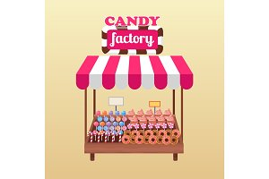 Candy Factory Bright Stand Isolated Illustration