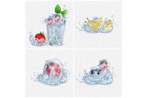 Frozen Fruits and Water Splash illustrations Set