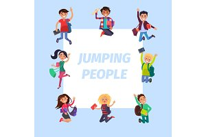 Happy Young Jumping People Banner Illustration