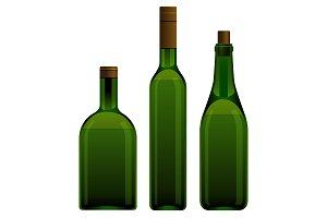 Green wine bottle with cork