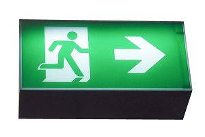 Emergency exit sign isolated over white