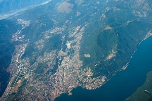 Aerial view of Lake Lugano