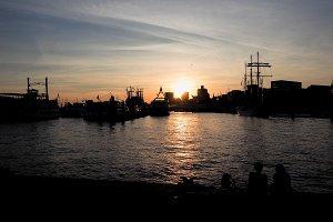 View of the city of Hamburg at sunset