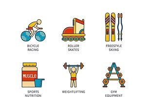 Lineart colored sports icon set