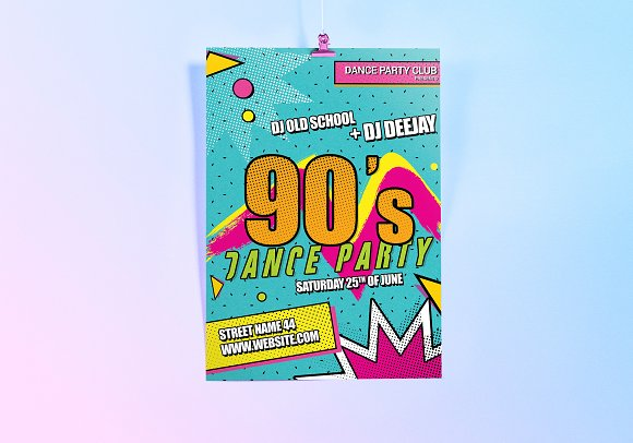 90's Theme Dance Party Flyer