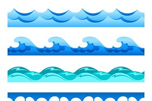 Blue water seamless bands set