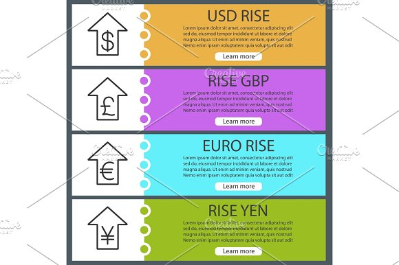 Currencies Rate Rise Web Banner Templates Set