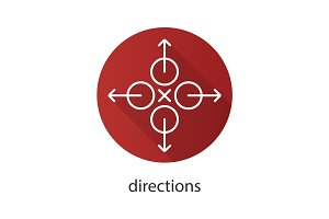 Directions flat linear long shadow icon