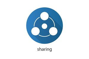 Sharing flat design long shadow glyph icon