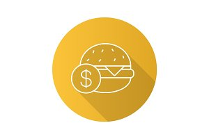 Buy hamburger flat linear long shadow icon