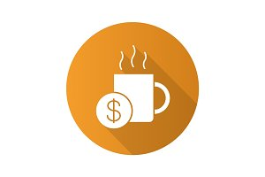 Buy cup of tea. Flat design long shadow glyph icon