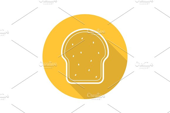 Toasted Bread Flat Linear Long Shadow Icon