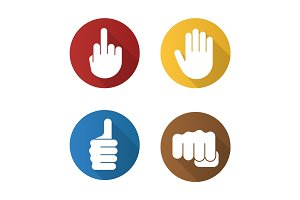 Hand gestures flat design long shadow glyph icons set