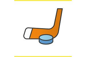 Ice hockey equipment color icon