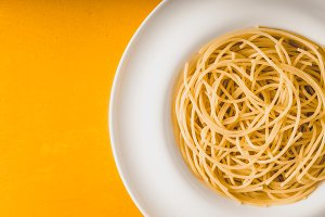Spaghetti on the white plate