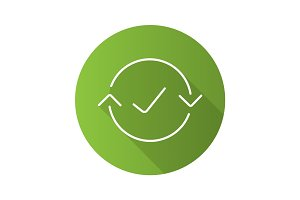 Money exchange complete flat linear long shadow icon