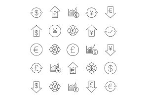 Economics linear icons set