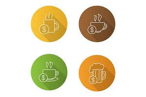 Buy drinks flat linear long shadow icons set