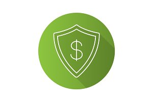 Money security flat linear long shadow icon