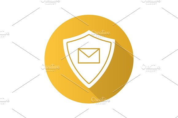 Email Security Flat Design Long Shadow Glyph Icon