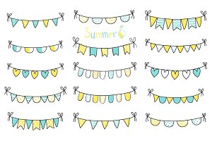 Yellow blue doodle bunting clip art