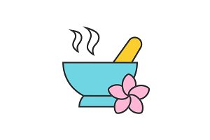 Spa salon mortar and pestle color icon