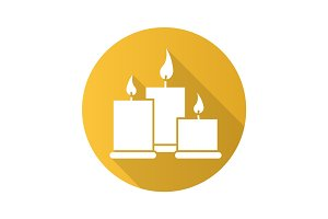 Spa salon candles flat design long shadow glyph icon