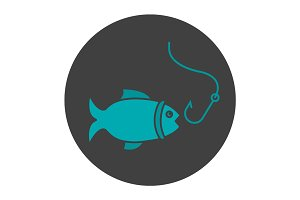 Fishing glyph color icon