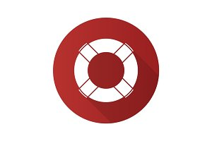 Life ring flat design long shadow glyph icon