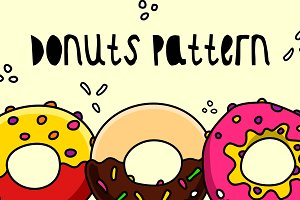 Donuts Cartoon Seamless Pattern