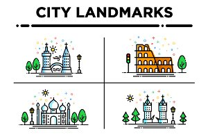 City Landmark Illustrations Set1