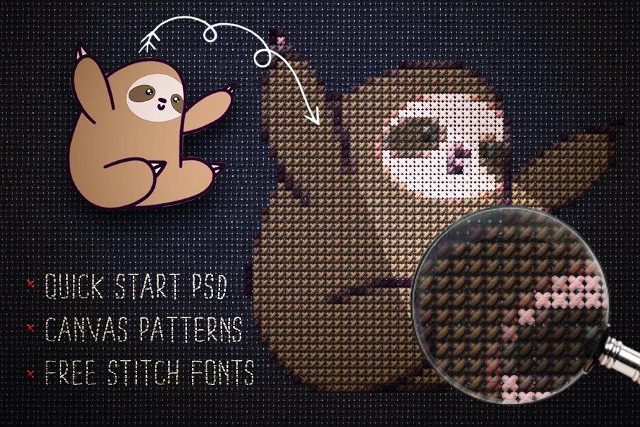 Cross Stitch Photoshop Action ~ Photoshop Add-Ons ~ Creative Market