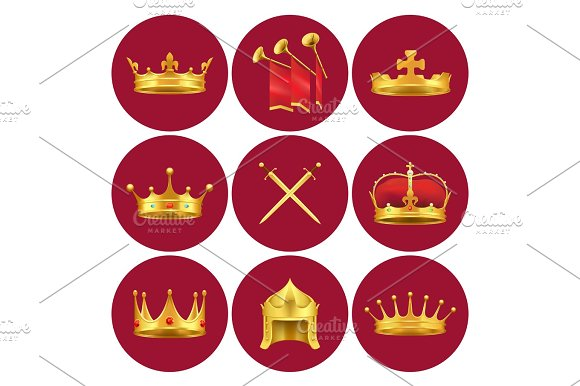 Medieval Kings Attributes In Scarlet Circles Set
