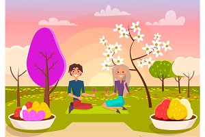 Couple Has Picnic with Wine at Park Illustration
