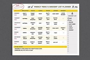 Menu & Grocery List Planner Template