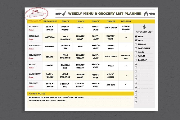 Menu Grocery List Planner Template Stationery Templates – Grocery Templates