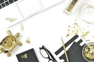 Black gold modern desk flat lay