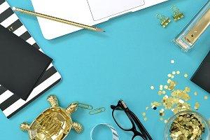 Blue gold black desktop stock photo