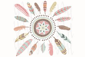 Tribal Feathers Mandala Elements