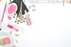 Pink gold black paris theme photo