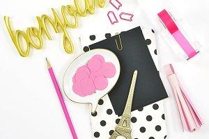 Black pink gold paris theme flat lay