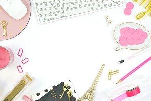 Black pink gold desktop mockup