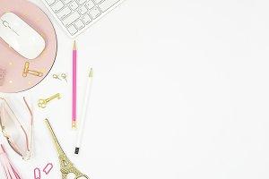 Portrait pink black desktop mockup