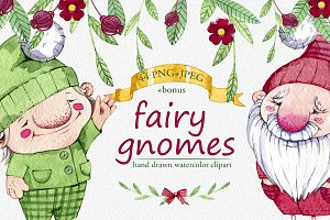 hand drawn watercolor fairy gnomes