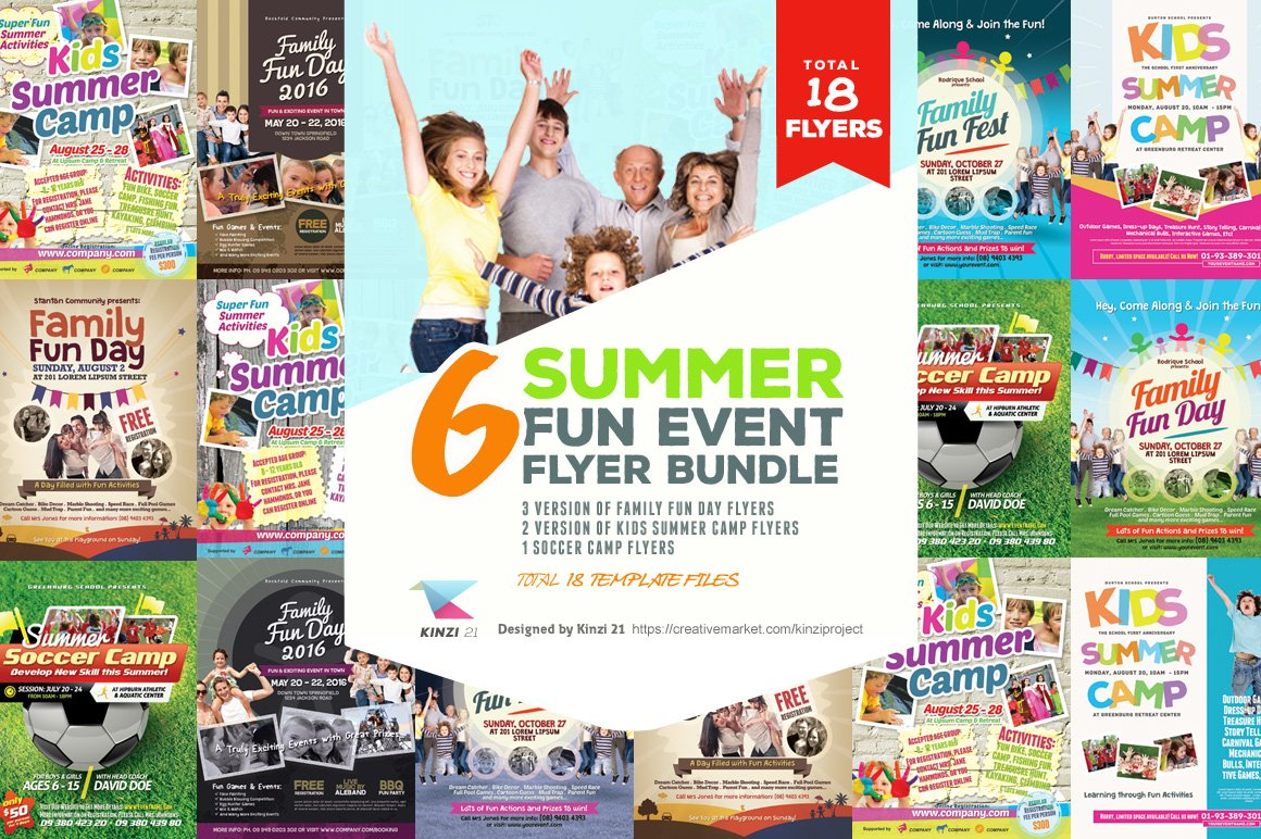 summer fun event flyer bundle flyer templates creative market. Black Bedroom Furniture Sets. Home Design Ideas