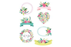 Set of cute vintage elements as rustic hand drawn first spring flowers