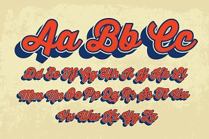 cursive retro typography vector