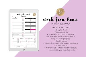 Work from home - Printable Planner