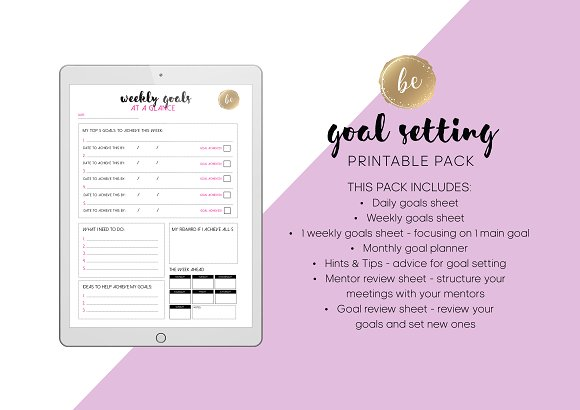 goal setting printable planner stationery templates creative