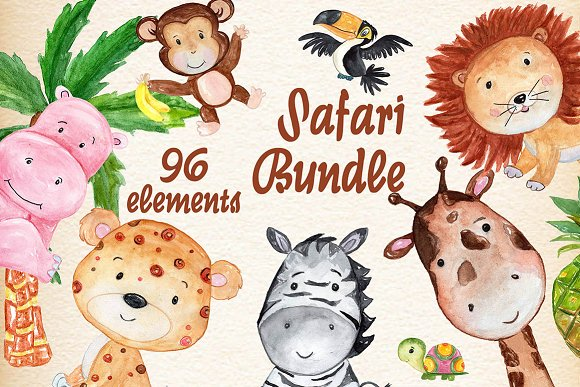 Safari Animals Watercolor Bundle